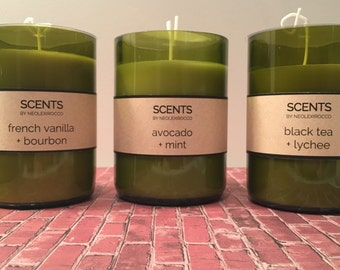 Repurposed Wine Bottle Candles (burn time: ~45 hours)