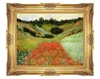 Poppy Field in a Hollow near Giverny Claude Monet Framed Poppies Art Print Canvas Painting Reproduction - Small to Large Sizes - M00044