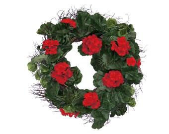 Red Geranium Wreath for Front Door Spring Summer Floral Indoor Outdoor Decoration Silk Flowers - 20 Inch - WR011