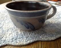 Rowe pottery handled soup gray salt glaze with blue