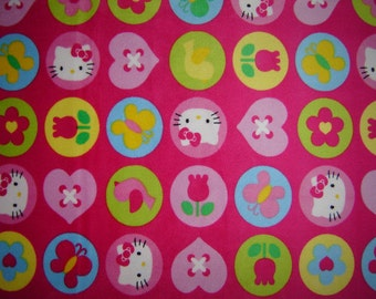 "MINKY Hello Kitty Fabric 14"" Remnant/ Bolt end 1479"