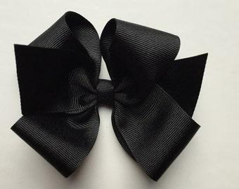 Black hair bow, girls hair bow, toddler hair bow, baby hair bow, large bows, large hair bow, girl hair bow, black bow, plain bow