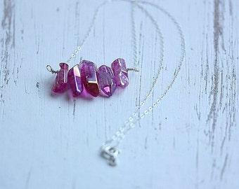 Red Quartz Bar necklace - Silver Red Quartz necklace - Red Crystal polished beads necklace - Crystal Rock Quartz necklace