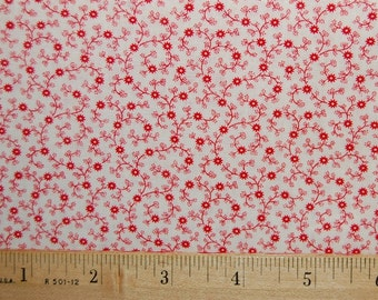 Calico Fabric Vintage Red White Wamsutta Etch n Sketch