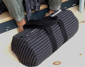 Pinstripe Duffel, Week End Bag, Travel, Gym, Carry On Bag, Overnight Bag