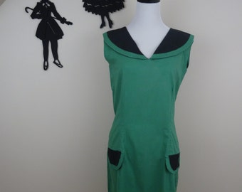 Vintage 1960's Girl Scout Style Dress / 60s Home Made Dress XS/S  tr