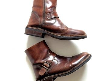 Mens Bass J.D. Series MUGFORD Brown Leather Zipper Boots Size 11   D