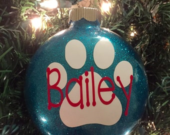 Paw Print Glitter Ornament, Personalized - Glass