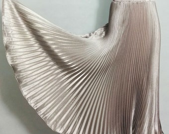Satin Metal Pleated Maxi Skirt