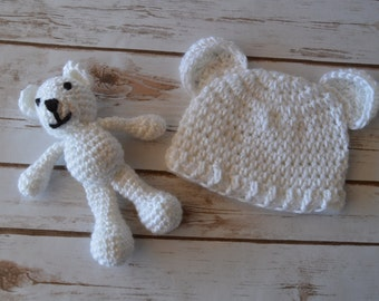 crochet bear and hat photo prop, baby photo prop, crochet bear, crochet hat, crochet baby set, crochet bear hat, crochet baby hat
