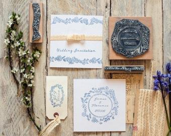 Wedding Rubber Stamp Wild Flower Garland Personalised