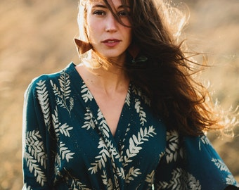 Sonia Robe Dress || Kimono Robe Dress, Cobalt and Metallic Gold dresss, maxi dress, leg slit maxi, American Milled Fabric || by Simka Sol®