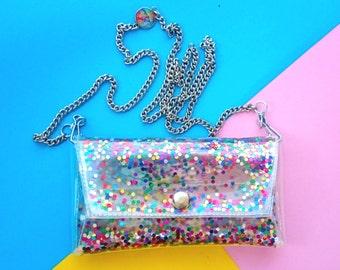 iPhone 7 Fall Regenbogen, Handytaschen, kleine Umhängetaschen Colorfull Pailletten Tasche Handy-Tasche, klare kleine Geldbörse, Handy Tasche, Regenbogen Glitzer