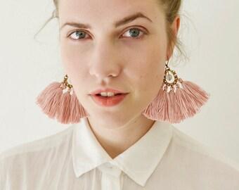 Tassel Earrings, Old Rose Fringe Earrings, Boho Chandeliers, Hippie Earrings, Statement Earrings, Boho Bride, Pink Earrings, Fabric Earrings