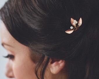 Rose Gold Small Wedding Hair Combs | Blush Wedding Hair Accessories | Rose Gold Leaf Bridal Hair Comb [Adele Hairpin: Rose Gold]