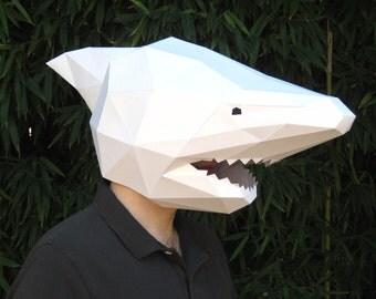 DIY Shark Mask - Paper Pattern Instant Download | Masquerade Mask | Halloween Mask | Paper Mask | DIY Mask