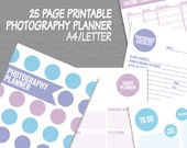 "Photographer's Printable Planner, 8.5""x11"" letter and a4 size, purple photographer diary printable digital photography business organizer"