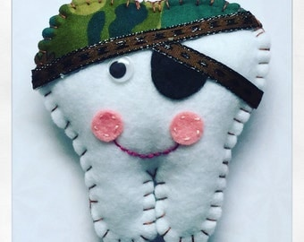 Camouflage Pirate felt tooth fairy pillow with an embroidered initial on the pocket on the back for money/ tooth