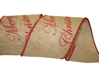 "4"" Burlap Merry Christmas - Wire Edge - 5 Yard Roll"