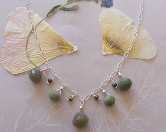"Green Catseye, Peruvian Opal & Pyrite Gemstone Dangle Charm Necklace ~ Sterling Silver Chain ~ Adjustable up to 18"" Length"