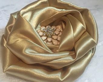 Satin Flower, Golden Satin Fabric Flower, Fabric Flower