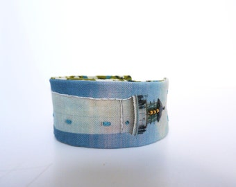 cuff/ fabric bracelet realized from a embroidered photo