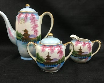 Occupied Japan Hand Painted Coffee Set - 3 Pieces