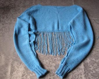 Knitted summer blue cape, bolero, scarf, shawl, jacket, poncho, sweater with fringe.