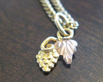 Black Hills Gold Grape Cluster and Leaf Necklace
