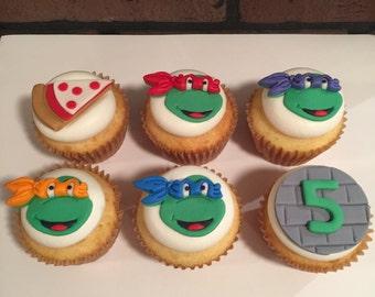 12 Ninja Turtle Inspired Cupcake Toppers-Fondant