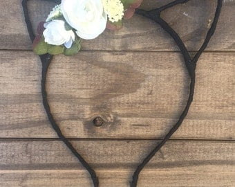 White and black floral cat ear headband
