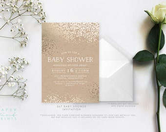 Baby Shower Invitation, Bridal Shower Invitation, Golden Confetti, Faux Foiling, Gold Foiling, DIY, Printable
