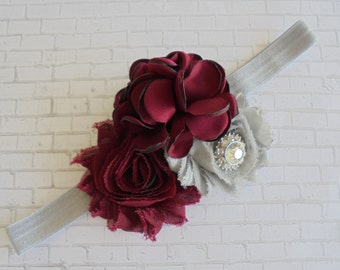grey baby headband,maroon baby headband,maroon headband,grey headband,girls headband,girls marron headband,photo prop headband,maroon   bows