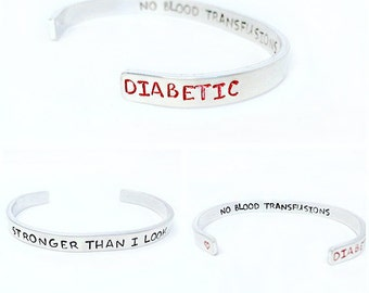 Personalized medical alert bracelet - medical ID bracelet - inspirational her - customized medical bracelet - custom aluminum cuff