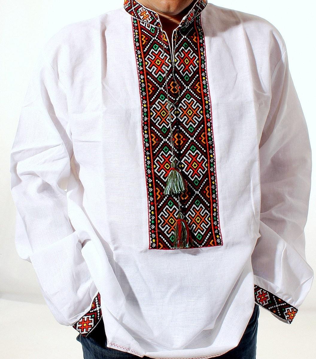 Vyshyvanka mens ukrainian embroidered shirt new by rushnychok for Mens dress shirt monogram location