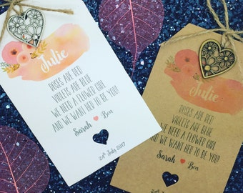 """Personalised """"Will You Be My Flower Girl"""" Request Cards / Tag Rustic"""