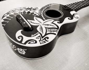 Black Hand-Carved Ukulele