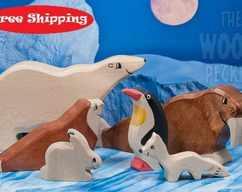 SALE! Free Shipping! Wooden Animal toys set, arctic, POLAR Set, Sea Ox, Bear, Fox, Rabbit, Bio Toy, Zoo, Toys for Kids, Gifts, Partyfavors