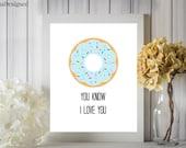 Donut Love Blue Digital Printable 8x10 Boy Nursery