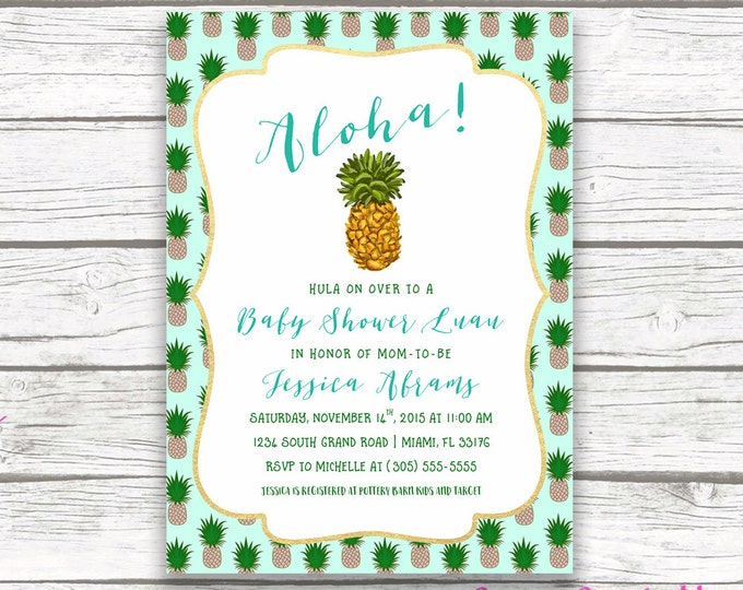 Tropical Baby Shower Invitation, Pineapple Invitation, Pineapple Baby Shower Invitation, Luau Baby Shower Invitation, Printable Invite