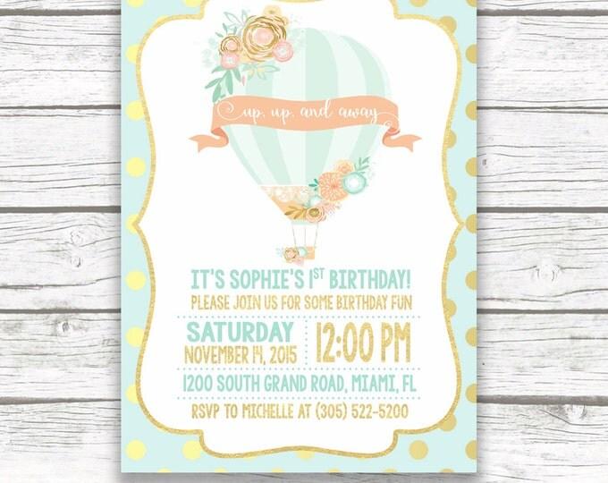 Hot Air Balloon Birthday Invitation, Hot Air Balloon Invitation, First 1st Birthday Invitation Girl, Mint Birthday Invitation