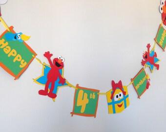 Elmo Sesame Street Happy Birthday Banner Personalized, Red Elmo Birthday decor