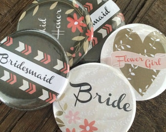 Bridal Party PIns, Bridal Party Badges, Bridal Party Buttons, Rustic Wedding, Tribal Wedding, Bachelorette Party Pins, Rustic, SET of 10
