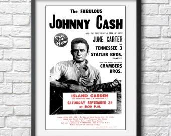 Johnny Cash photo, print, poster Johnny Cash concert poster Johnny Cash art