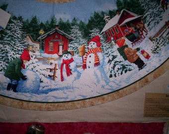 "SALE !! Snow Day John Sloane Wilmington Fabrics 1 tree skirt or round table cover 58"" to 60"" round Snowmen Scenic children Saltbox houses"