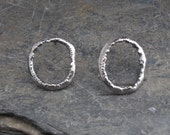 RESERVED Mumaluv - Ring 9.5 - Recycled Sterling silver Circle earrings, rustic, primitive, ecofriendly jewelry. Eternity circle, infinity.