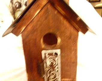 Rustic Birdhouse with Upcycled Accents