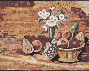 Kitchen Backsplash Decor Flowers Fruits Organic Marble Mosaic KB41