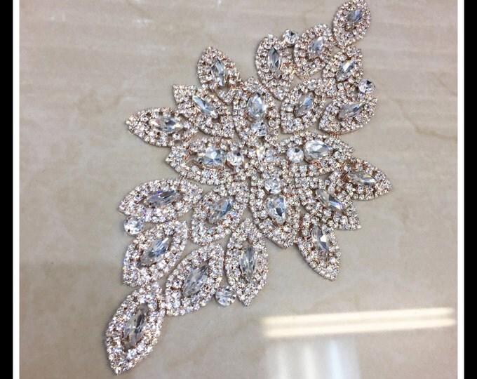 large Rose Gold Rhinestone Bridal applique/ Swarovski applique shine (Silver, Gold, Rose Gold, Ab) #0111