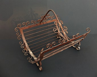 Vintage Rustic Gothic Wrought Iron Fireplace Stove Log Holder Carrier or Magazine Rack